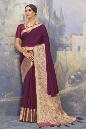 Silk Fabric Purple Weaving Work And Jacquard Work Designer Saree And Blouse