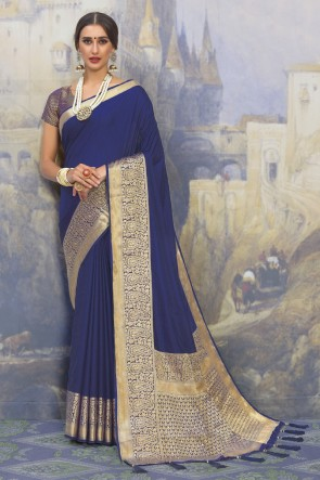 Weaving Work And Jacquard Work Blue Silk Fabric Saree And Blouse
