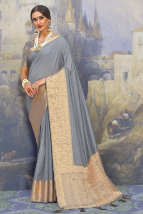 Stunning Grey Satin And Silk Fabric Designer Weaving Work And Jacquard Work Saree And Blouse