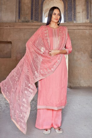 Light Pink Muslin And Viscose Embroidered Plazzo Suit With Cotton Dupatta