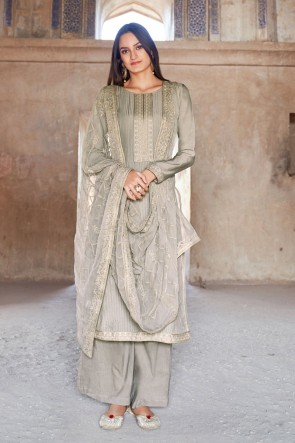 Muslin And Viscose Designer Grey Embroidered Plazzo Suit With Cotton Dupatta