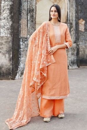 Designer Orange Embroidered Muslin And Viscose Plazzo Suit With Cotton Dupatta