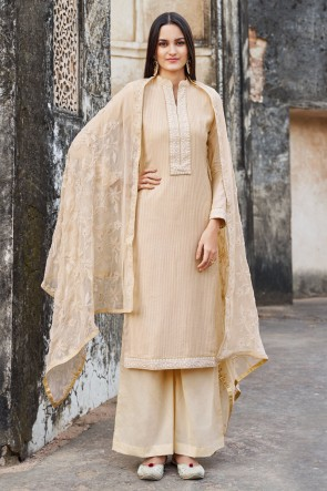 Muslin And Viscose Cream Embroidered Plazzo Suit With Cotton Dupatta