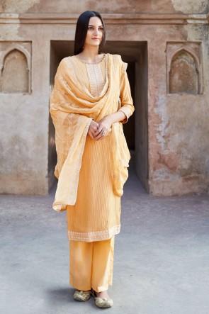 Embroidered Orange Georgette Muslin And Viscose Fabric Plazzo Suit Cotton Dupatta