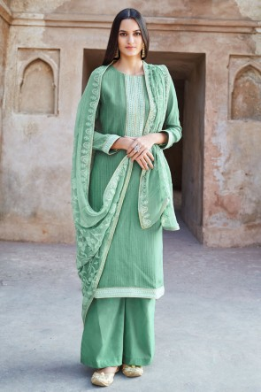Muslin And Viscose Designer Green Embroidered Plazzo Suit With Cotton Dupatta