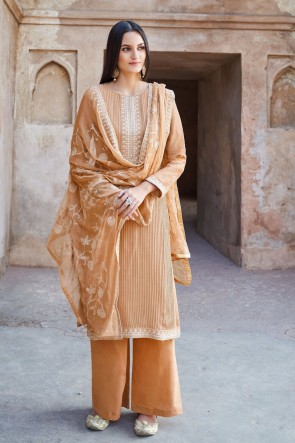 Designer Cream Embroidered Muslin And Viscose Plazzo Suit With Cotton Dupatta