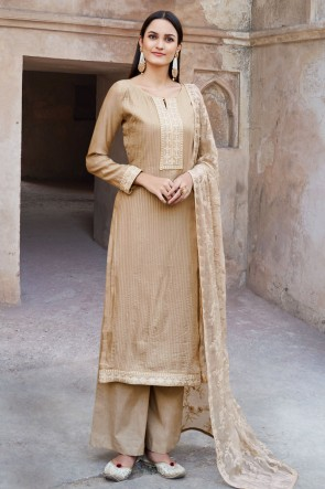 Beige Muslin And Viscose Embroidered Plazzo Suit With Cotton Dupatta