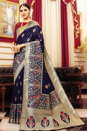 Navy Blue Banarasi Silk Fabric Weaving Work And Jaquard Work Designer Saree And Blouse