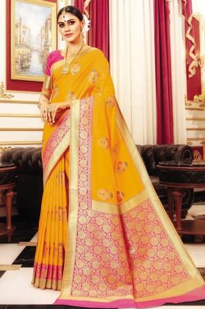 Banarasi Silk Fabric Yellow Weaving Work And Jaquard Work Designer Saree And Blouse