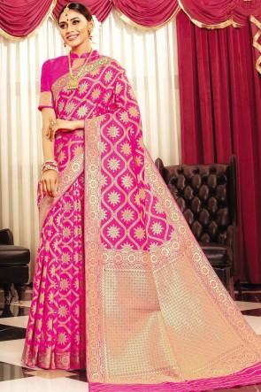 Optimum Weaving Work And Jaquard Work Pink Banarasi Silk Fabric Designer Saree And Blouse