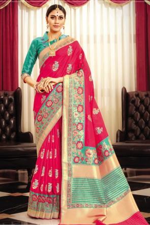 Pink Banarasi Silk Fabric Weaving Work And Jaquard Work Designer Saree And Blouse