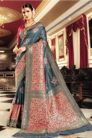Weaving Work And Jaquard Work Banarasi Silk Fabric Grey Designer Saree And Blouse