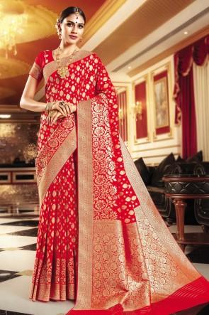 Weaving Work And Jaquard Work Red Banarasi Silk Fabric Saree And Blouse