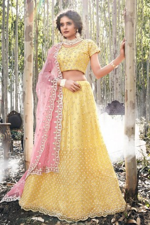 Embroidered Designer Net Fabric Yellow Lehenga Choli With Net Dupatta