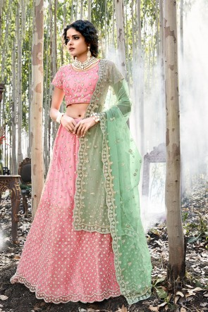 Embroidered Light Pink Net Designer Lehenga Choli With Net Dupatta