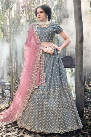 Grey Net Fabric Embroidered Lehenga Choli With Net Dupatta