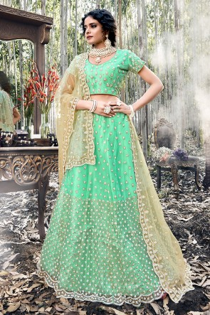 Heavy Designer Light Green Embroidered Net Lehenga Choli With Net Dupatta