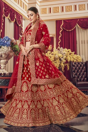 Red Embroidered Satin Fabric Designer Lehenga Choli With Net Dupatta