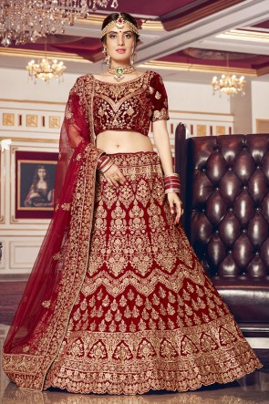 Velvet Fabric Embroidered Designer Maroon Lehenga Choli With Net Dupatta
