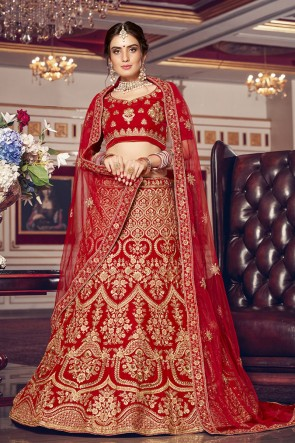 Delightful Red Embroidered Velvet Fabric Lehenga Choli With Net Dupatta