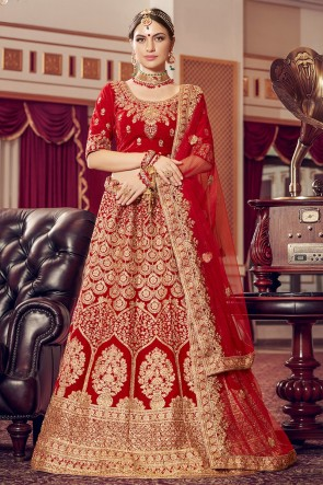 Red Embroidered Velvet Fabric Lehenga Choli With Net Dupatta