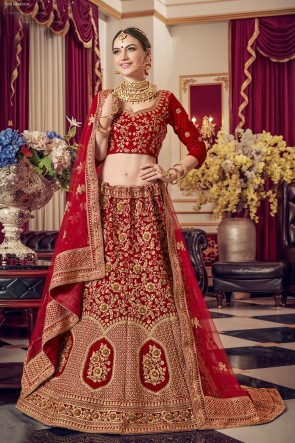 Red Velvet Fabric Embroidered Designer Lehenga Choli With Net Dupatta