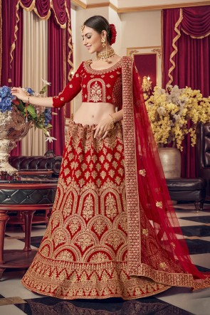Satin Fabric Designer Red Embroidered Lehenga Choli With Net Dupatta
