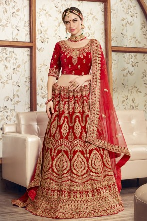 Embroidered Designer Velvet Fabric Red Lehenga Choli With Net Dupatta