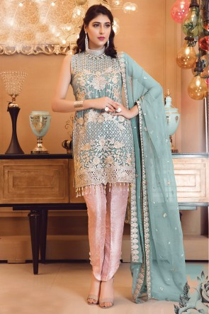 Sky Blue Faux Georgette Embroidered Salwar Suit With Chiffon Dupatta