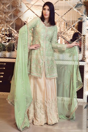 Designer Green Embroidered Faux Georgette Plazzo Suit With Chiffon Dupatta
