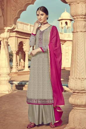 Viscose Designer Grey Embroidered Plazzo Suit And Santoon Dupatta