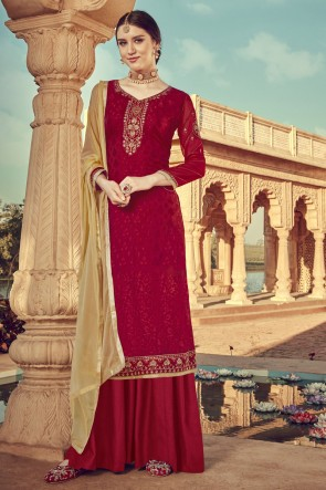Designer Red Embroidered Viscose Plazzo Suit And Santoon Dupatta