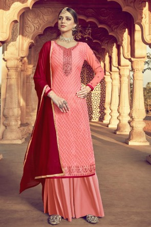 Embroidered Peach Viscose Fabric Plazzo Suit And Santoon Dupatta