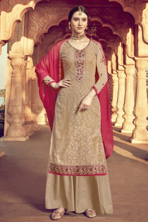 Beige Viscose Embroidered Plazzo Suit And Santoon Dupatta
