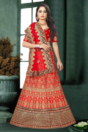 Heavy Designer Red Stone Work And Embroidered Work Satin Lehenga Choli And Dupatta