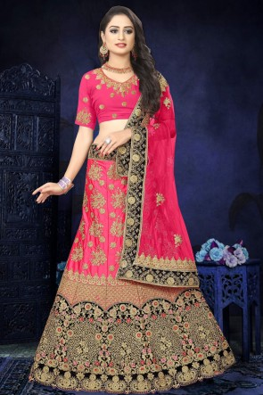 Embroidered And Stone Work Pink Satin Fabric Lehenga Choli And Dupatta