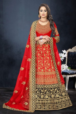 Red Satin Fabric Stone Work And Embroidered Work Designer Lehenga Choli And Dupatta
