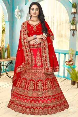 Red Stone Work And Embroidered Satin Fabric Lehenga Choli And Dupatta