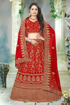 Embroidered And Stone Work Designer Red Satin Fabric Lehenga Choli And Dupatta
