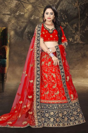 Stone Work And Embroidered Red Satin Designer Lehenga Choli And Dupatta