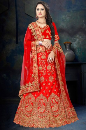 Delightful Red Embroidered And Stone Work Satin Fabric Lehenga Choli And Dupatta
