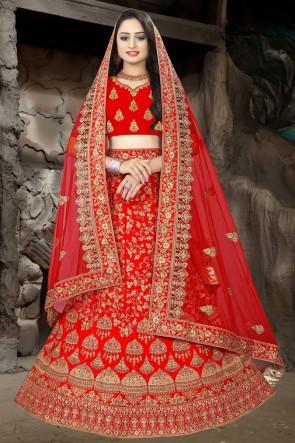 Red Embroidered And Stone Work Satin Fabric Lehenga Choli And Dupatta