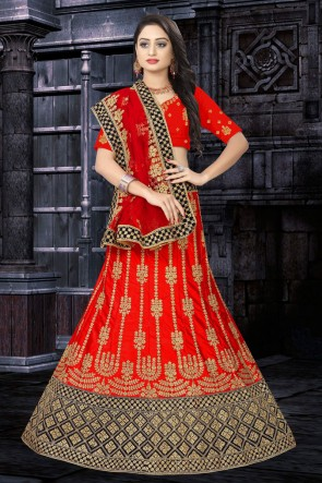 Satin Fabric Red Stone Work And Embroidered Work Designer Lehenga Choli And Dupatta