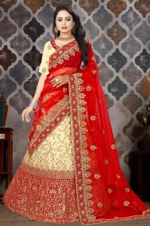 Cream Embroidered And Stone Work Satin Fabric Designer Lehenga Choli And Dupatta