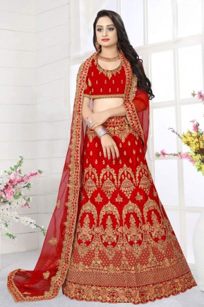 Red Embroidered And Stone Work Satin Fabric Designer Lehenga Choli And Dupatta