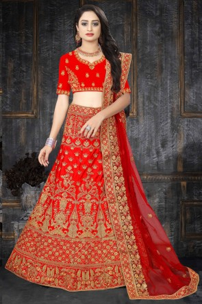 Satin Fabric Embroidered And Stone Work Designer Red Lehenga Choli And Dupatta