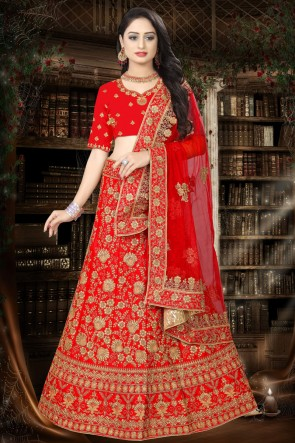 Satin Fabric Designer Red Stone Work And Embroidered Lehenga Choli And Dupatta