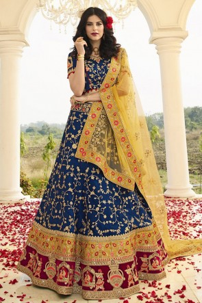 Silk Satin Fabric Embroidery And Zari Work Designer Blue Lehenga Choli With Net Dupatta