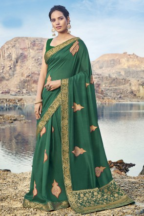 Silk Fabric Border Work Designer Mehendi Green Lovely Saree And Blouse