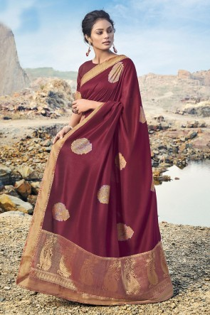 Maroon Silk Fabric Border Work Designer Saree And Blouse